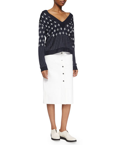 Abigale Pullover Top & Branson Snap-Front Midi Skirt