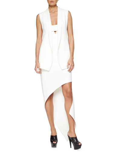Sleeveless Shawl-Collar Crepe Jacket & Plunging Asymmetric Crepe Dress