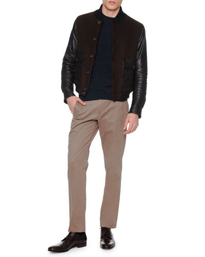 Wool/Leather Button-Down Jacket, Goyard-Pattern Crewneck Sweater & Brushed Cotton Flat-Front Trousers