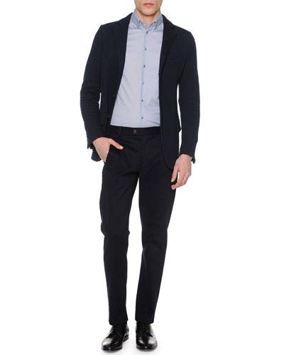 Box-Stitch Three-Button Jacket, Mini-Diamond Print Long-Sleeve Shirt & Brushed Cotton Flat-Front Trousers