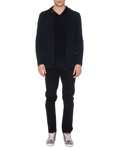 Textured Three-Button Soft Jacket, Velvet-Trimmed Pique Sweater & Brushed Cotton Flat-Front Trousers