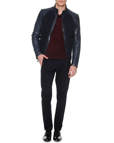 Suede/Leather Zip-Front Jacket, Velvet-Trimmed Pique Sweater & Brushed Cotton Flat-Front Trousers