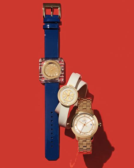 Tory Burch Watches Izzie Leather-Strap Golden Watch, Navy
