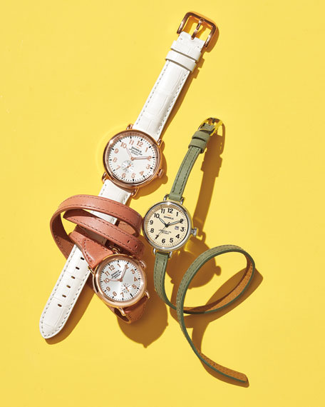 Shinola Runwell Rose Golden Watch with Alligator Strap,