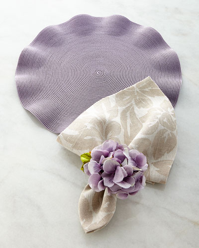 Ruffle Placemat, Floral Napkin, & Spring Hydrangea Napkin Ring