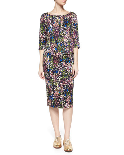 3/4-Sleeve Garden-Print Top & Garden-Print Pencil Skirt