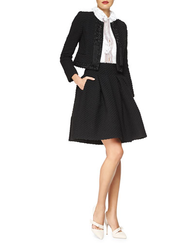 Beaded Stretch Boucle Jacket, Lace-Trimmed Georgette Blouse & Box-Pleated Boucle Skirt