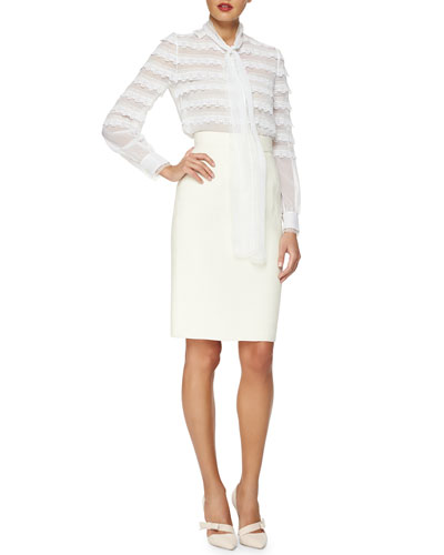Scalloped Lace-Trimmed Tie-Neck Blouse & Double-Faced Pencil Skirt