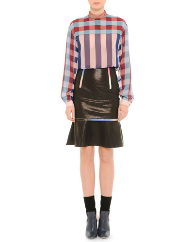 Mock-Neck Plaid Blouse & Leather Iridescent-Trim Skirt