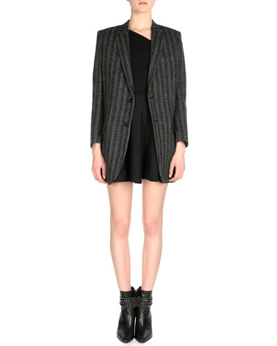 Striped Textured Oversized Jacket & Asymmetric Pleated Mini Dress