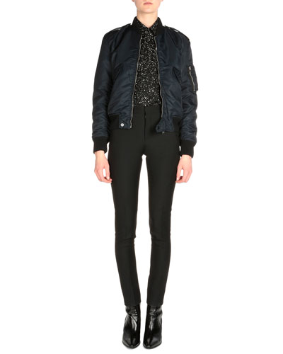 Tech Fabric Aviator Bomber Jacket, Splatter Paint-Print Button Blouse & Bias-Seamed Skinny-Fit Pants