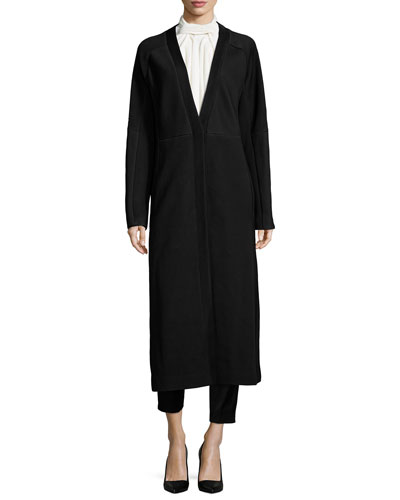 Matelasse Fitted Long Coat, Crinkled Crepe Scarf Blouse & High-Waisted Sateen Slim Pants