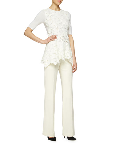 Floral Lace Peplum Layered Top & Stretch Ponte Straight-Leg Pants