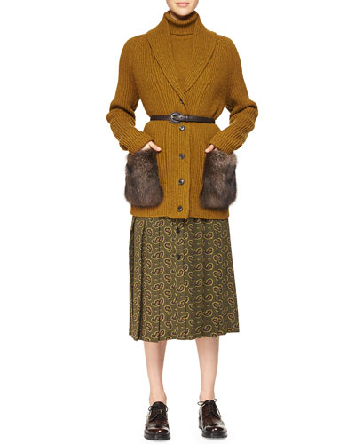 Fur-Pocket Cashmere Long Cardigan, Half-Sleeve Cashmere Sweater & Paisley-Print Button Skirt