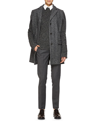 Herringbone Three-Button Cape Jacket, Cashmere-Blend Ribbed Crewneck Sweater, Sleeveless Poplin Button Blouse & Skinny Woven Ankle Pants