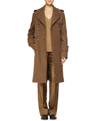 Houndstooth Menswear-Style Coat, Cashmere V-Neck Sweater & Medallion-Print Straight-Leg Pants