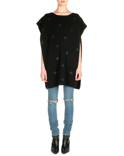 Beaded Star-Embroidered Poncho & Low-Rise Distressed Skinny Jeans