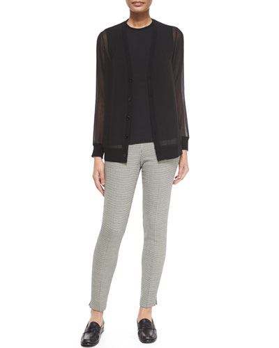 Long-Sleeve Sheer Silk Cardigan, Renita Shell & Houndstooth Wool Side-Zip Pants