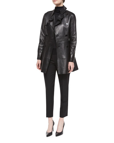 Bonded Leather Trench Coat, Cashmere-Silk Knit Turtleneck Top & Wool Side-Zip Ankle Pants