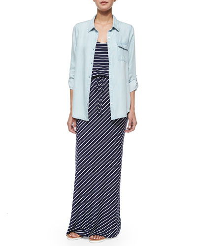 Onyx Chambray Button-Down Shirt & Maribel Striped Tie-Waist Maxi Dress