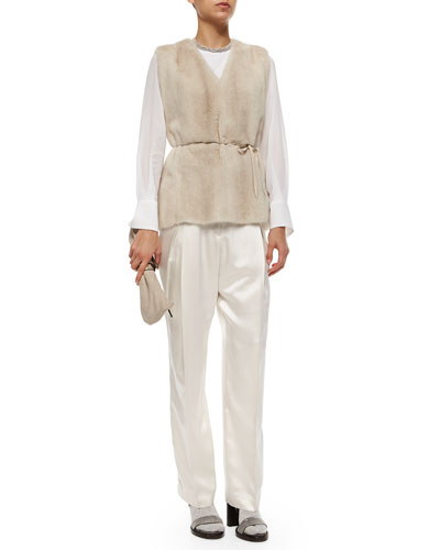 Mink Fur Vest with Monili Tie Belt, Chiffon-Sleeve Cotton Stretch Top & Satin Pleated Wide-Leg Pants
