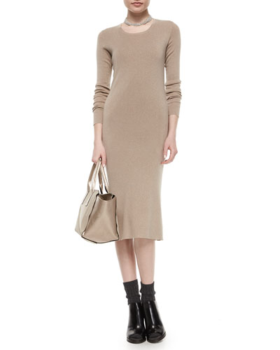 Metallic Long-Sleeve Midi Dress & Multi-Strand Monili Collar Necklace