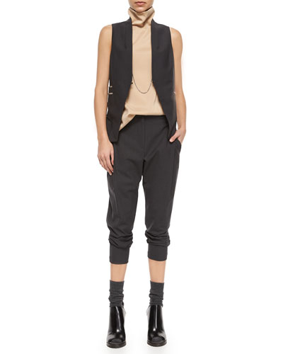 Lightweight Peplum Vest, Sleeveless Monili Turtleneck & Wool Single-Pleat Cropped Pants