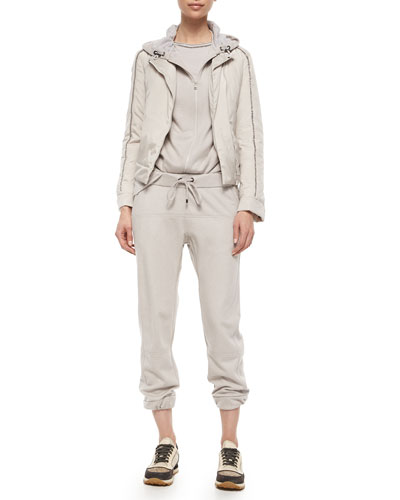 Cashmere Zip Sweatshirt, Monili Collar Long-Sleeve Tee, Silk Monili Jacket & Cashmere Sweatpants