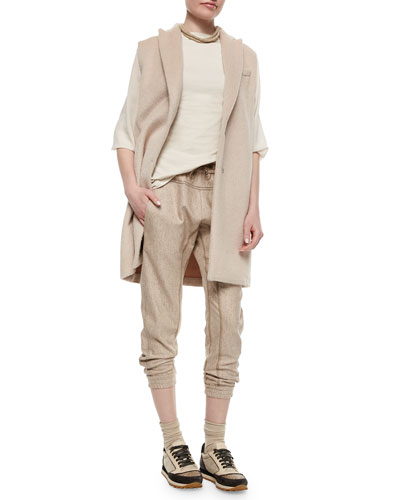 Alpaca Sleeveless Peaked-Lapel Jacket, Chiffon-Sleeve Cotton Stretch Top & Tweed Drawstring Track Pants