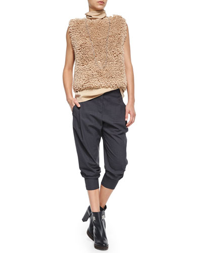 Sleeveless Chubby Pullover, Monili Turtleneck Top & Wool Cropped Pants