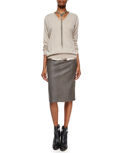 Cashmere Boyfriend V-Neck Sweater, Reversible Satin V-Neck Bias-Cut Tank & Leather Stretch Pencil Skirt