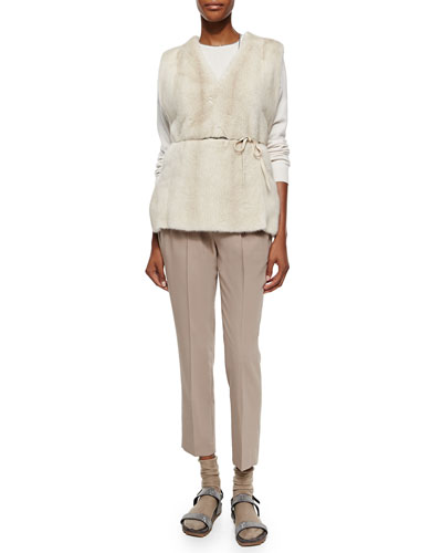 Mink Fur Vest with Monili Tie Belt, Monili Trimmed Layered Cardigan Top & Wool Crepe Pull-on Pants