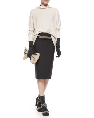 Cashmere Monili Turtleneck Sweater, Cashmere-Blend Gloves & Pencil Skirt with Monili Wrap Belt