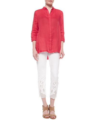 Carly Linen Long-Sleeve Pleated-Back Blouse & Mona Eyelet-Hem Ankle Jeans