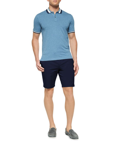 Short-Sleeve Tape-Tipped Polo Shirt & Solid Stretch-Cotton Slim Shorts