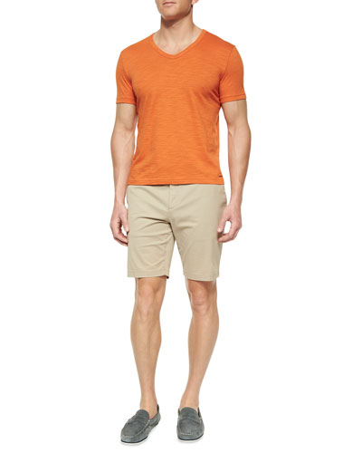 Slub-Knit V-Neck Tee & Solid Stretch-Cotton Slim Shorts