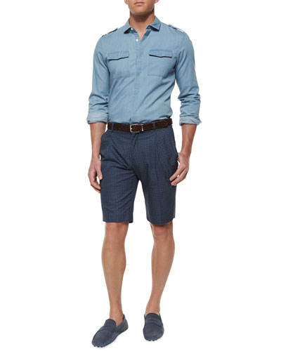 Woven Chambray Chest-Pocket Shirt & Medallion-Print Slim-Fit Shorts