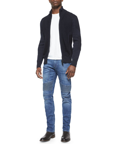 Cleveland Textured Full-Zip Sweater & Eastham Slim-Fit Washed Denim Jeans