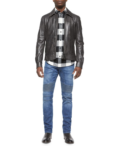 Heritage Faded Leather Jacket, Wilsden Check-Print Flannel Shirt & Eastham Slim-Fit Washed Denim Jeans