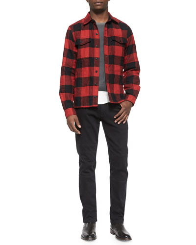 Redhill Check-Print Flannel Shirt, Hallet Jersey Graphic Short-Sleeve Tee & Harpton Raw-Stretch Moto Jeans