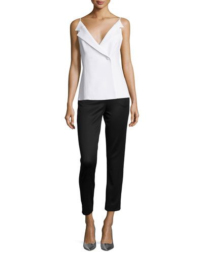 Tuxedo V-Neck Cady Top & High-Waist Lullaby Jersey Ankle Pants