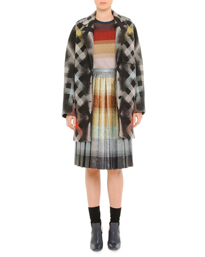 Printed Large-Check Coat, Striped Shimmer-Knit Sweater & Pleated Degrade Shimmer Skirt