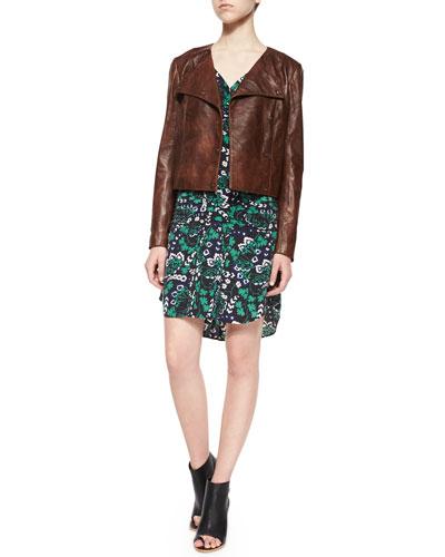 Frontier Fringe Lambskin Leather Jacket & Elm Vine-Print Shirtdress