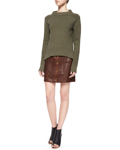 Trailhead Funnel-Neck Sweater & Patrol Cargo Leather Mini Skirt