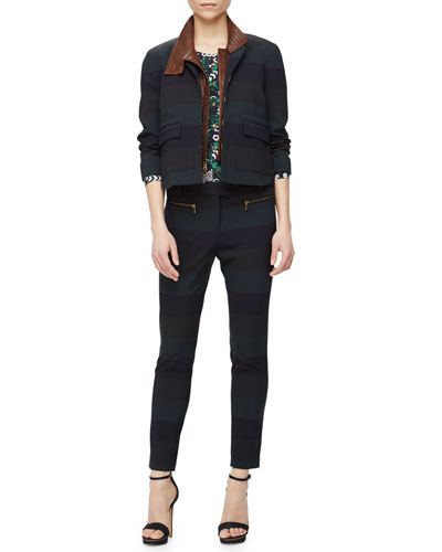 Sycamore Striped Jacket W/ Leather Dickey, Hawthorn Combo Vine-Print Blouse & Juniper Striped Cigarette Pants