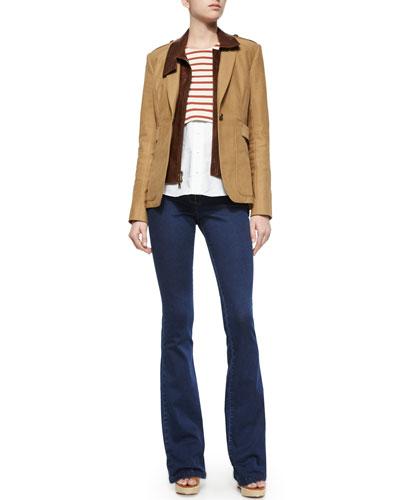 Scout Jacket W/ Leather Dickey, Striped Knit & Poplin Top & High-Waist Denim Trousers