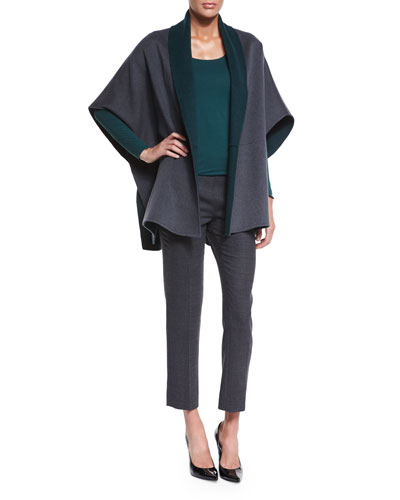 Reversible Wool/Cashmere Cape, Long-Sleeve Jewel-Neck Striped Top & Slim-Leg Pants