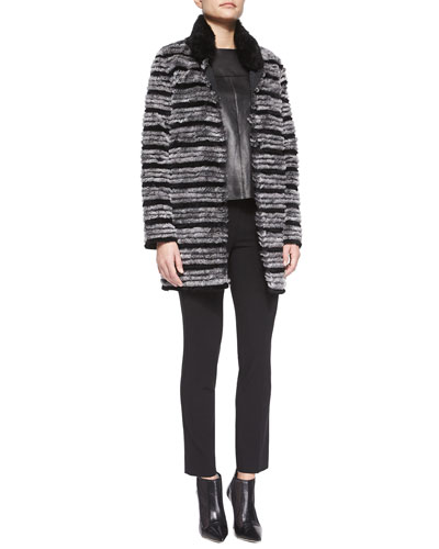 Reversible Striped Fur Belted Coat, Short-Sleeve Leather-Front Top & Straight-Leg Skinny Ankle Pants