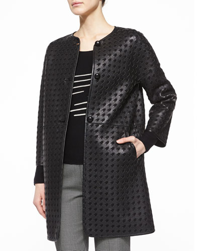 Laser-Cut Leather Jacket, Cashmere-Blend Zigzag Knit Top & Micro-Houndstooth Straight-Leg Pants