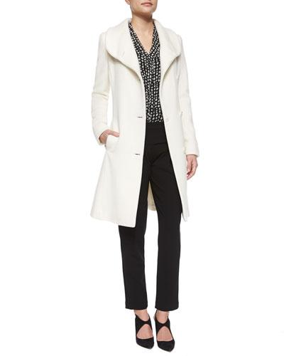 Cashmere-Blend Asymmetric Coat, Polka-Dot Ruffle Blouse & Asymmetric-Button Waist Slim Pants
